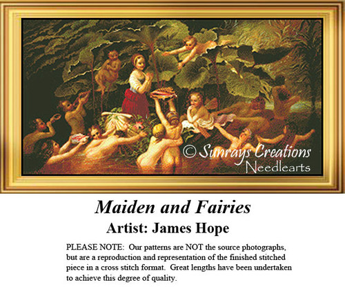 Fine Art Counted Cross Stitch Pattern   Maidens and Fairies