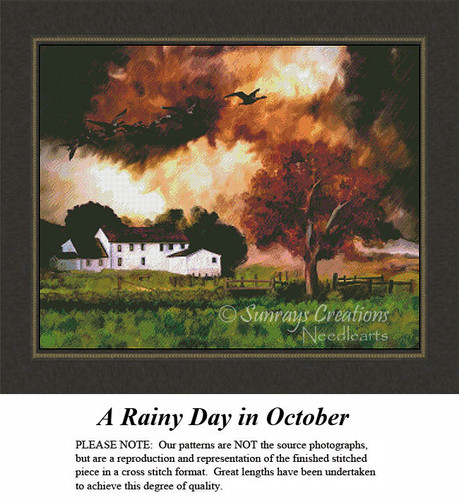 Alluring Landscapes Cross Stitch Patterns | A Rainy Day in October