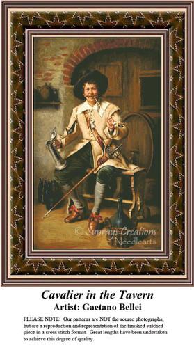 Fine Art Cross Stitch Patterns | Cavalier in the Tavern
