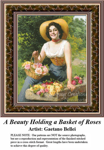 Fine Art Cross Stitch Patterns | A Beauty Holding a Basket of Roses