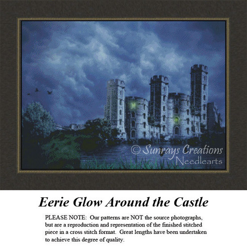 Landscapes Cross Stitch Patterns | Eerie Glow Around the Castle