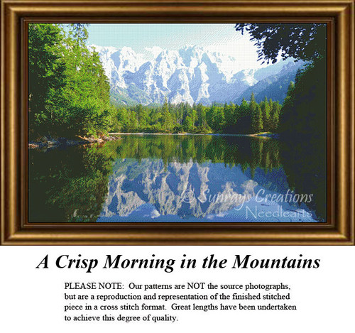 Landscapes Cross Stitch Patterns | A Crisp Morning in the Mountains