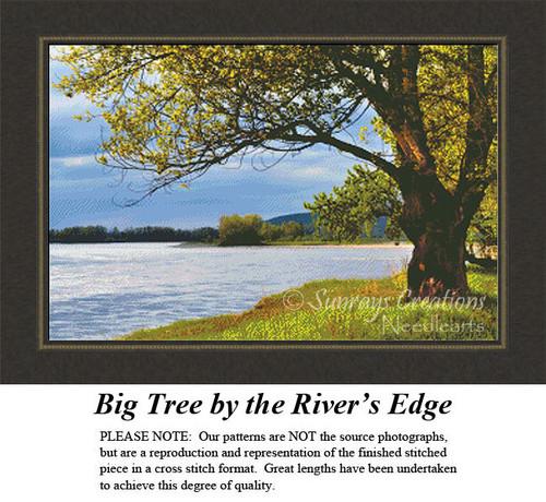 Landscape Cross Stitch Pattern, Big Tree by the River's Edge