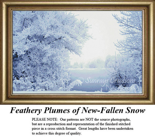 Landscape Cross Stitch Pattern | Feathery Plumes of New-Fallen Snow