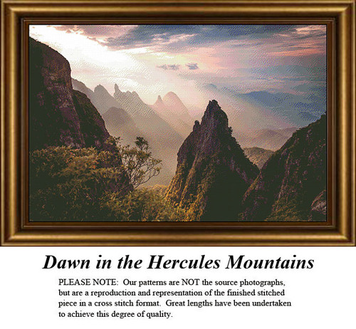 Landscape Cross Stitch Pattern | Dawn in the Hercules Mountains