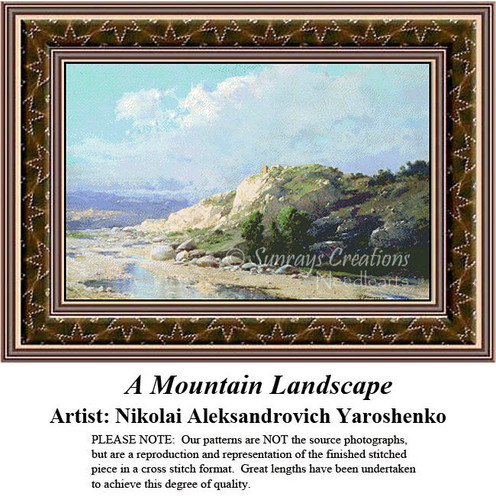 Fine Art Counted Cross Stitch Patterns | A Mountain Landscape