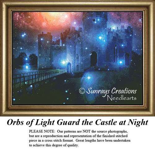 Fantasy Cross Stitch Pattern | Orbs of Light Guard the Castle at Night