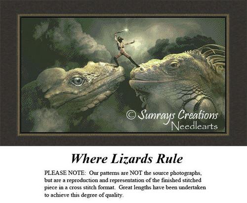 Fantasy Cross Stitch Pattern | Where Lizards Rule
