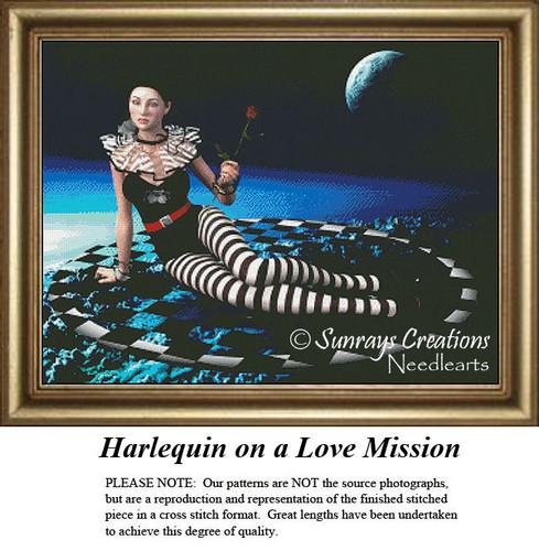 Fantasy Cross Stitch Pattern | Harlequin on a Love Mission