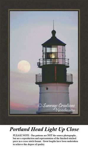 New England States Cross Stitch Patterns | Portland Head Light Close Up Maine