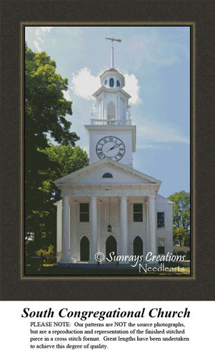 New England States Cross Stitch Patterns | South Congregational Church Kennebunkport Maine