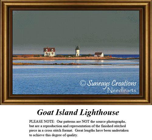 New England States Cross Stitch Patterns | Goat Island Lighthouse Maine