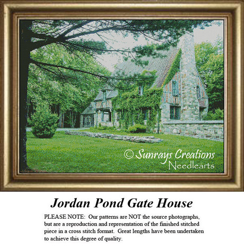 New England States Cross Stitch Patterns | Jordan Pond Gate House Maine