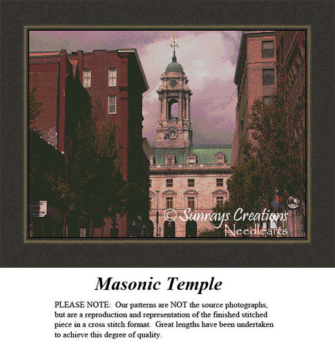 New England States Cross Stitch Patterns | Masonic Temple, Portland, Maine