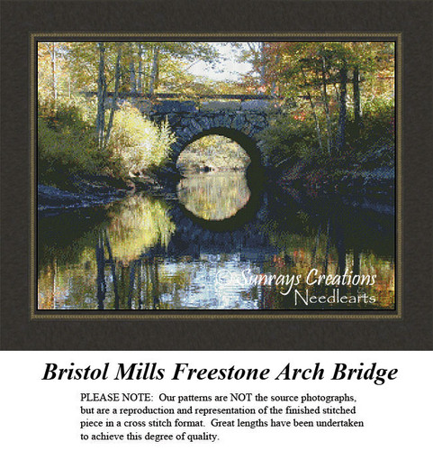 New England States Cross Stitch Patterns | Bristol Mills Freestone Arch Bridge