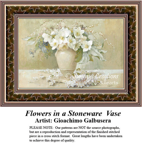 Fine Art Counted Cross Stitch Patterns | Flowers in a Stoneware Vase