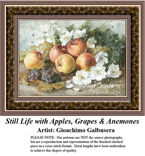 Fine Art Counted Cross Stitch Patterns | Still Life with Apples, Grapes & Anemones