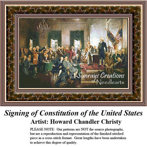 Patriotic Counted Cross Stitch Patterns | Signing of Constitution of the United States