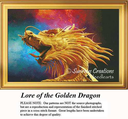 Fantasy Cross Stitch Pattern | Lore of the Golden Dragon