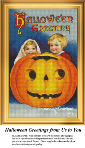 Vintage Cross Stitch Patterns   Halloween Greetings from Us to You