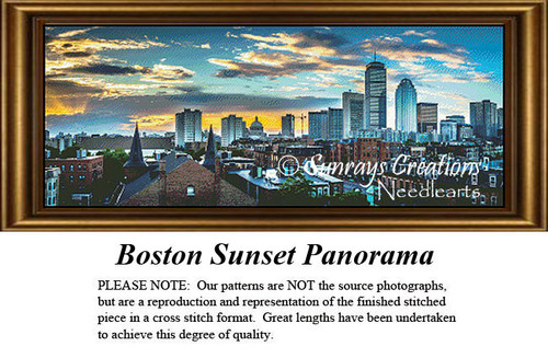 New England States Cross Stitch Patterns | Boston Sunset Panorama