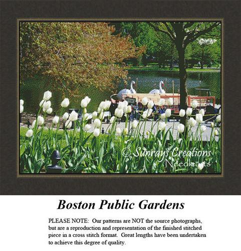 Massachusetts Cross Stitch Patterns | Boston Public Gardens