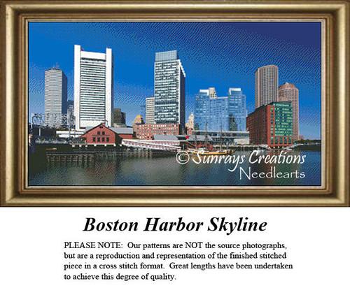 Massachusetts Cross Stitch Patterns | Boston Harbor Skyline