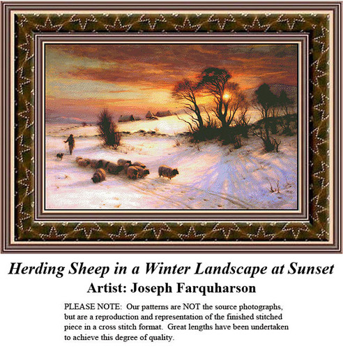 Fine Art Counted Cross Stitch Patterns | Herding Sheep in a Winter Landscape at Sunset
