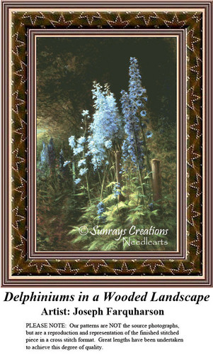 Fine Art Counted Cross Stitch Patterns | Delphiniums in a Wooded Landscape