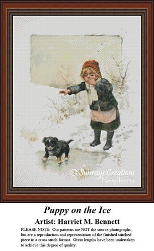 Vintage Cross Stitch Patterns | Puppy on the Ice
