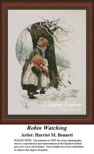 Vintage Cross Stitch Patterns | Robin Watching