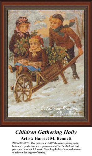 Vintage Cross Stitch Patterns | Children Gathering Holly