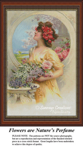 Vintage Cross Stitch Patterns | Flower's are Nature's Perfume