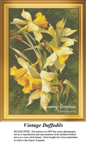 Vintage Cross Stitch Patterns | Vintage Daffodils