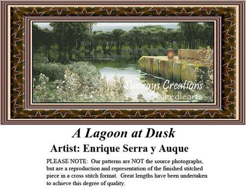 Fine Art Cross Stitch Patterns | A Lagoon at Dusk