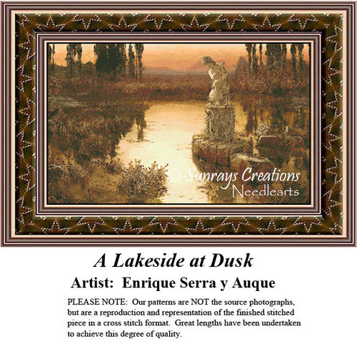 Fine Art Cross Stitch Patterns | A Lakeside at Dusk