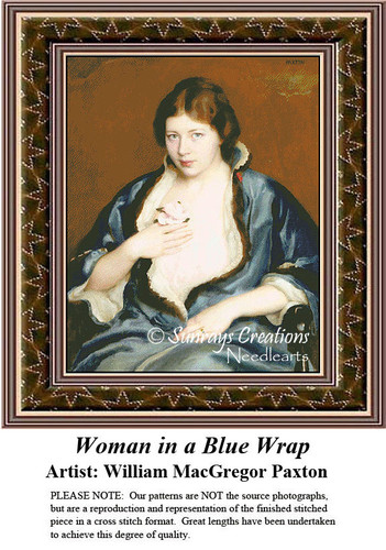 Fine Art Cross Stitch Patterns | Woman in a Blue Wrap