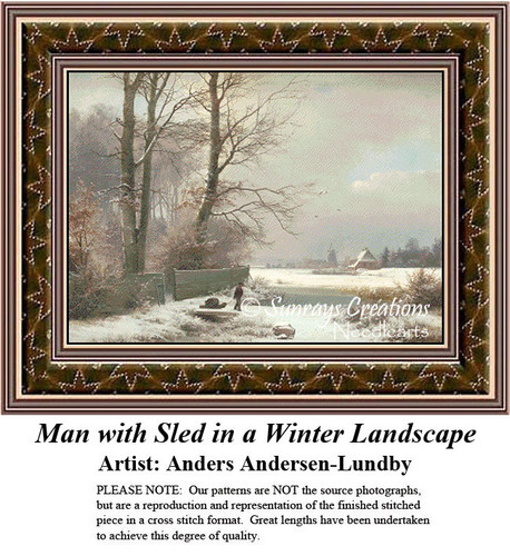 Fine Art Counted Cross Stitch Patterns | Man with Sled in a Winter Landscape