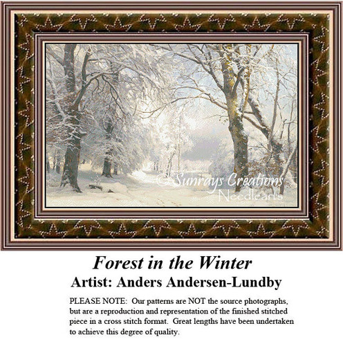 Fine Art Counted Cross Stitch Patterns | Forest in the Winter
