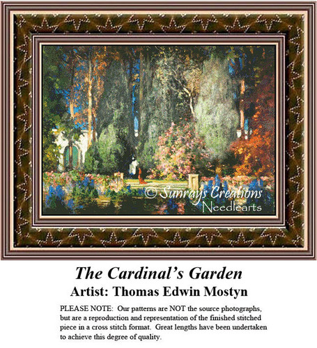 Fine Art Counted Cross Stitch Patterns | The  Cardinal's Garden