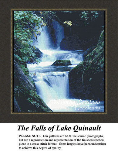 Alluring Landscapes Cross Stitch Patterns   The Falls of Lake Quinault