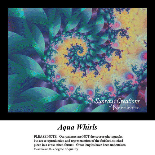 Fractal Cross Stitch Pattern | Aqua Whirls