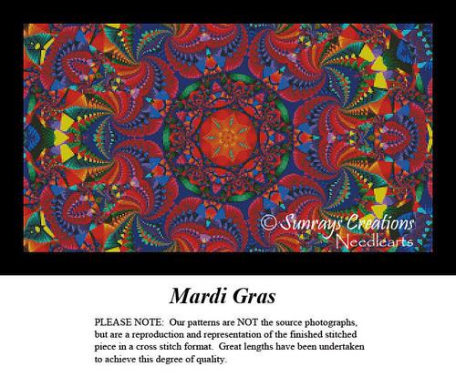 Fractal Cross Stitch Pattern | Mardi Gras