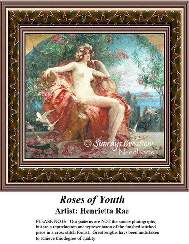 Fine Art Counted Cross Stitch Patterns | Roses of Youth