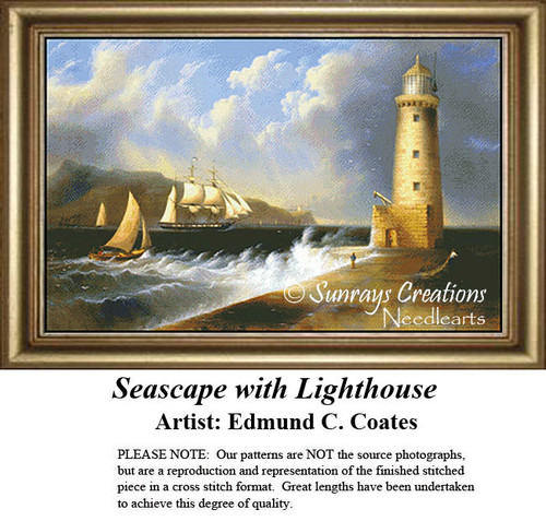 Fine Art Counted Cross Stitch Patterns | Seascape with Lighthouse