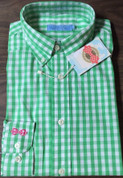Southern Tiger Button-Down Long Sleeve Shirt $75 Retail GREEN CHECK