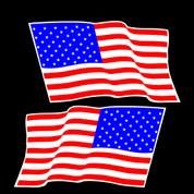 USA Flag Set - Car Decal