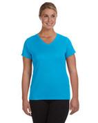1790 100% Polyester DRI-FIT Lady V-Neck Short-Sleeve T-Shirt - Bright Blue