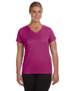 1790 100% Polyester DRI-FIT Lady V-Neck Short-Sleeve T-Shirt - Pink