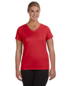 1790 100% Polyester DRI-FIT Lady V-Neck Short-Sleeve T-Shirt - Red